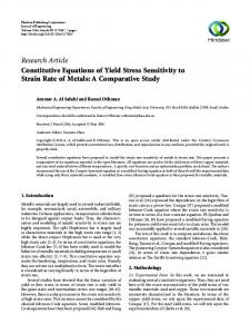 Constitutive Equations of Yield Stress Sensitivity to Strain Rate of ...