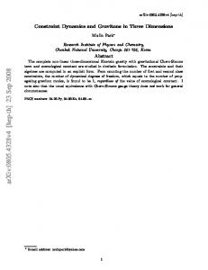 Constraint Dynamics and Gravitons in Three Dimensions