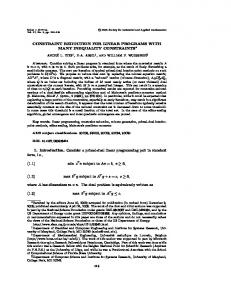 CONSTRAINT REDUCTION FOR LINEAR PROGRAMS ... - UMD ECE
