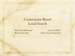 Constraints-Based Local Search - KTIML