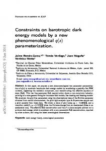 Constraints on barotropic dark energy models by a new ... - arXiv