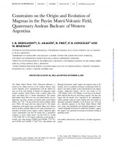 Constraints on the Origin and Evolution of Magmas in ...