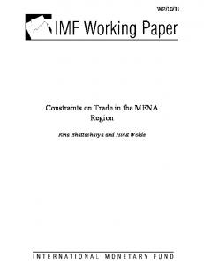 Constraints on Trade in the MENA Region - IMF