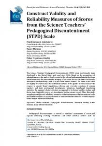 Construct Validity and Reliability Measures of Scores ... - ISER Journals