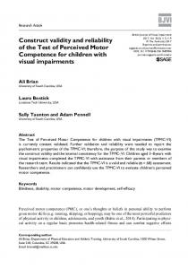 Construct validity and reliability of the Test of ... - SAGE Journals