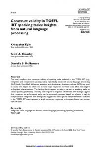 Construct validity in TOEFL iBT speaking tasks - Kristopher Kyle