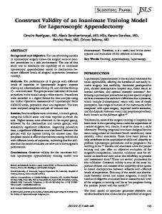 Construct Validity of an Inanimate Training Model for ... - BioMedSearch