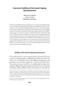 Construct Validity of the Social Coping Questionnaire