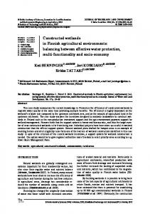 Constructed wetlands in Finnish agricultural environments: balancing ...