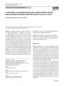 Constructing a recombinant hyaluronic acid ... - Springer Link