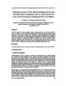 Constructing a Text-Mining Based English ... - Aircc Digital Library