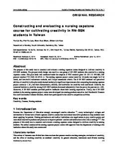 Constructing and evaluating a nursing capstone course ... - Sciedu Press