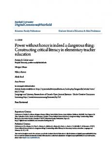 Constructing critical literacy in elementary teacher education