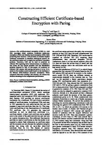 Constructing Efficient Certificate-based Encryption with ... - CiteSeerX