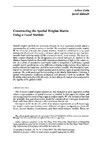Constructing the Spatial Weights Matrix Using a ... - Wiley Online Library