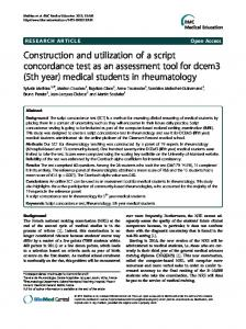 Construction and utilization of a script concordance test as an ...