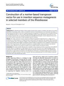 Construction of a mariner-based transposon vector for use in insertion ...