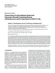 Construction of a Recombinant Eukaryotic Expression Plasmid ...