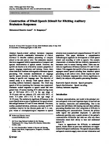 Construction of Hindi Speech Stimuli for Eliciting ... - Springer Link