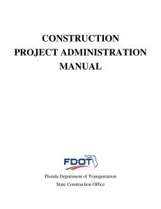 Construction Project Administration Manual (CPAM)