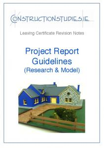 Construction Studies Project Guidelines