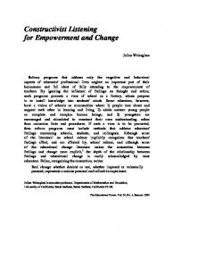 Constructivist Listening for Empowerment and Change
