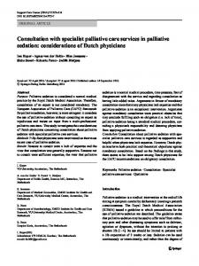 Consultation with specialist palliative care services in ... - MASCC