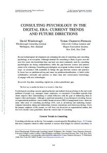 consulting psychology in the digital era: current trends and future ...