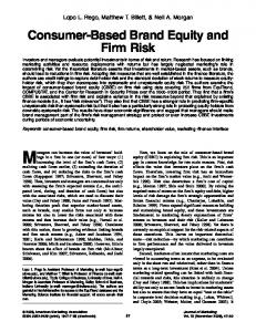 Consumer-Based Brand Equity and Firm Risk - Neil A Morgan