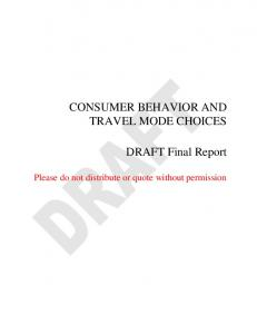 CONSUMER BEHAVIOR AND TRAVEL MODE CHOICES DRAFT ...