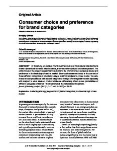 Consumer choice and preference for brand categories - Springer Link