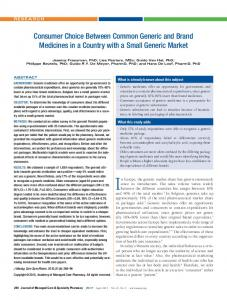 Consumer Choice Between Common Generic and Brand Medicines in ...