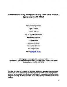 Consumer Food Safety Perceptions: Do they Differ ... - AgEcon Search