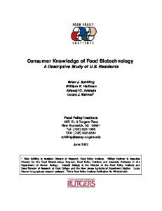 Consumer Knowledge of Food Biotechnology - AgEcon Search