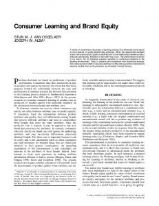 Consumer Learning and Brand Equity - Semantic Scholar