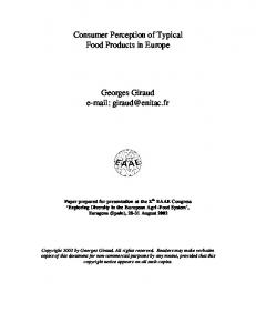 Consumer Perception of Typical Food Products in ... - AgEcon Search