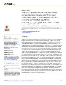 Consumer perspectives on peripheral intravenous cannulation - PLOS