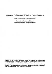Consumer Preferences and Trade in Energy Resources