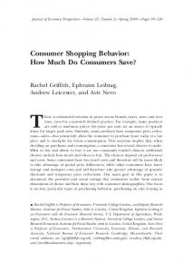 Consumer Shopping Behavior: How Much Do Consumers ... - CiteSeerX