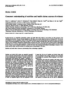 Consumer understanding of nutrition and health claims: sources of ...