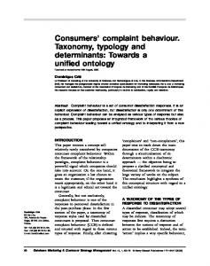 Consumers' complaint behaviour. Taxonomy, typology and determinants