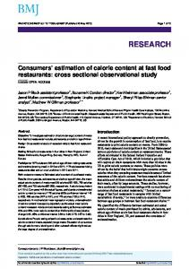 Consumers' estimation of calorie content at fast food restaurants: cross ...