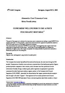 CONSUMERS' WILLINGNESS TO PAY A PRICE FOR ... - CiteSeerX