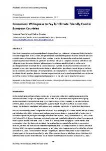 Consumers' Willingness to Pay for Climate-Friendly Food in European ...