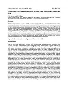 Consumers' willingness to pay for organic beef: Evidence from Dhaka ...