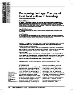 Consuming heritage: The use of local food culture in branding