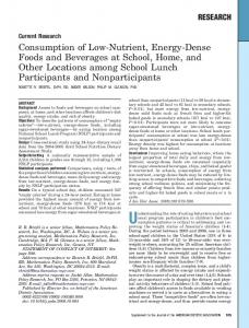 Consumption of Low-Nutrient, Energy-Dense Foods and Beverages at