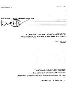 Consumption Smoothing, Migration and Marriage ... - AgEcon Search