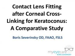 Contact Lens Fitting after Corneal Cross- Linking for ...