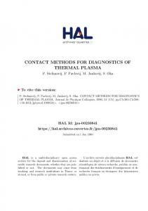 contact methods for diagnostics of thermal plasma